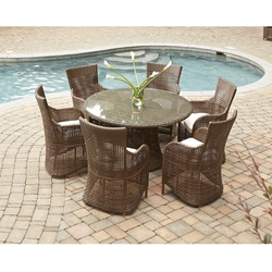 Lloyd Flanders Havana Round Wicker Patio Dining Set for 6 - LF-HAVANA-SET1