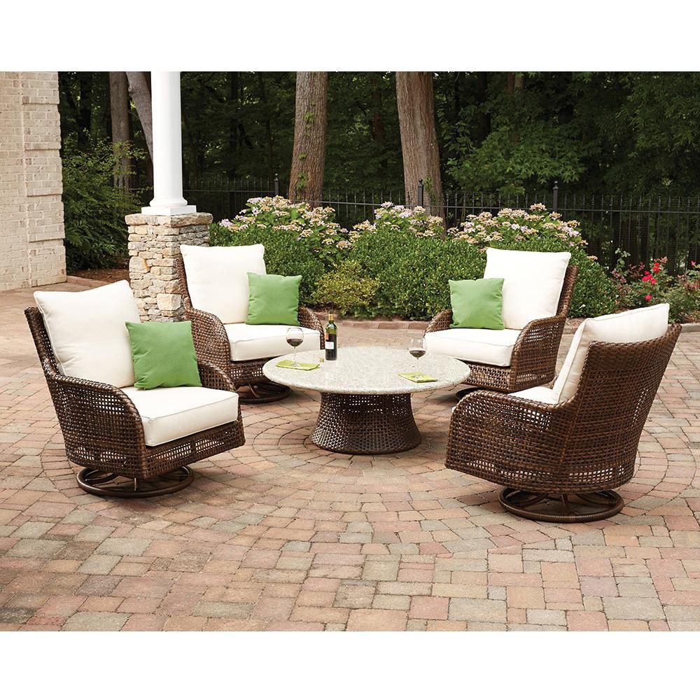 Lloyd Flanders Havana Swivel Rocker Lounge Chair Set With EcoSmart Fire  Table   LF HAVANA
