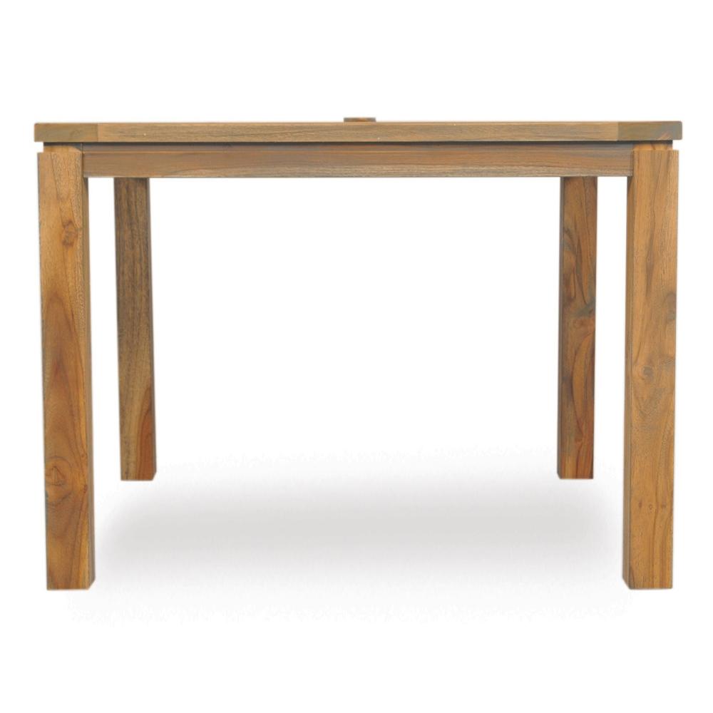 Lloyd Flanders Square Distressed Teak Dining Table - Distressed square dining table