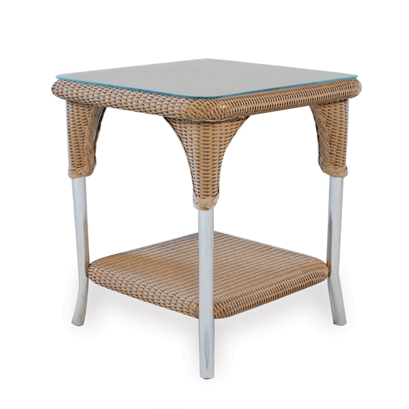 Lloyd Flanders 24 Quot Square Wicker End Table With Shelf 86241