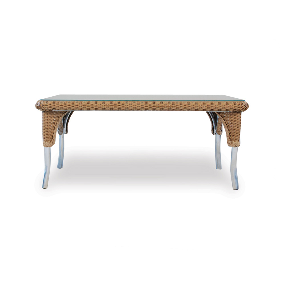 Lloyd Flanders Rectangle Cocktail Table With Woven Top And