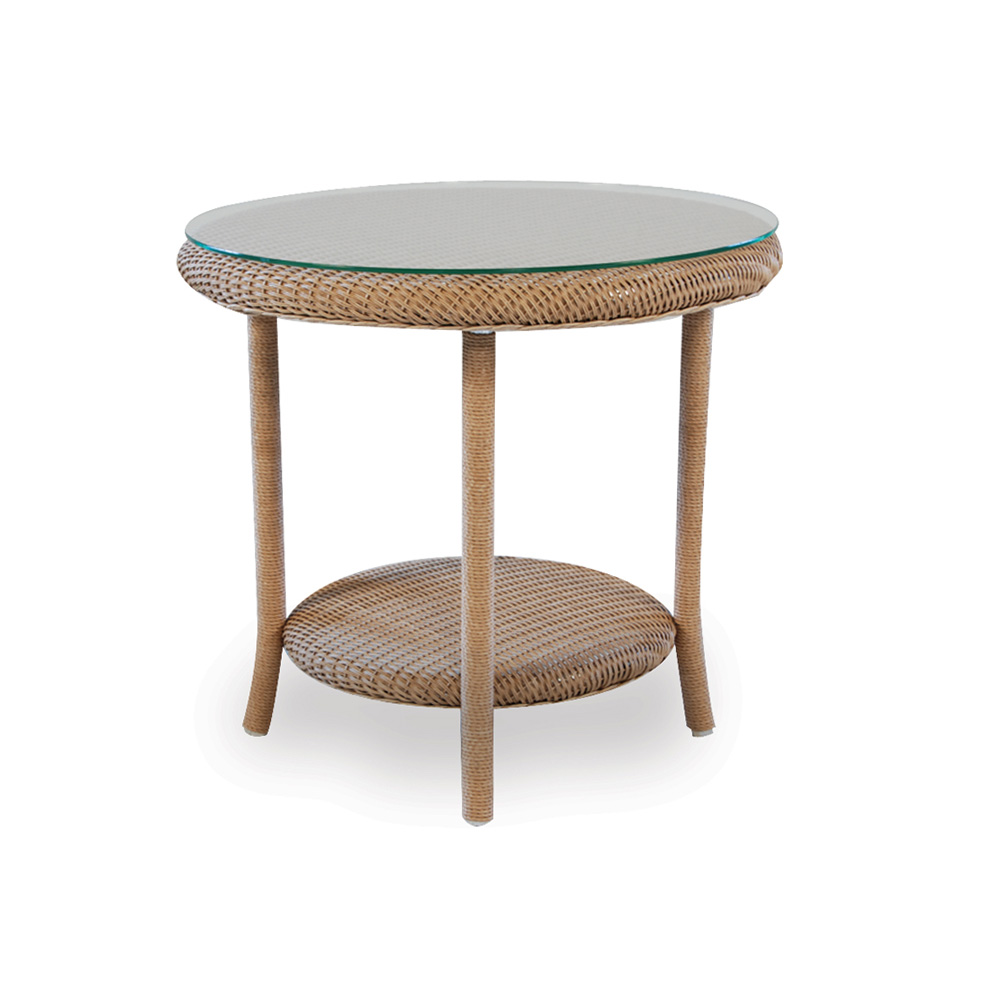Lloyd flanders 24 round end table with woven top and lay for Outdoor furniture end tables