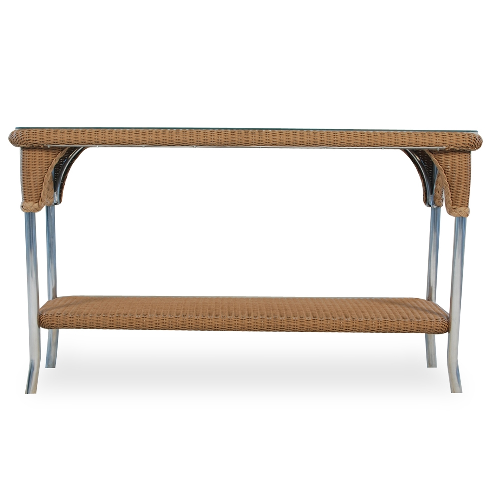 Lloyd Flanders Wicker Console Table With Woven Top And Lay On Glass
