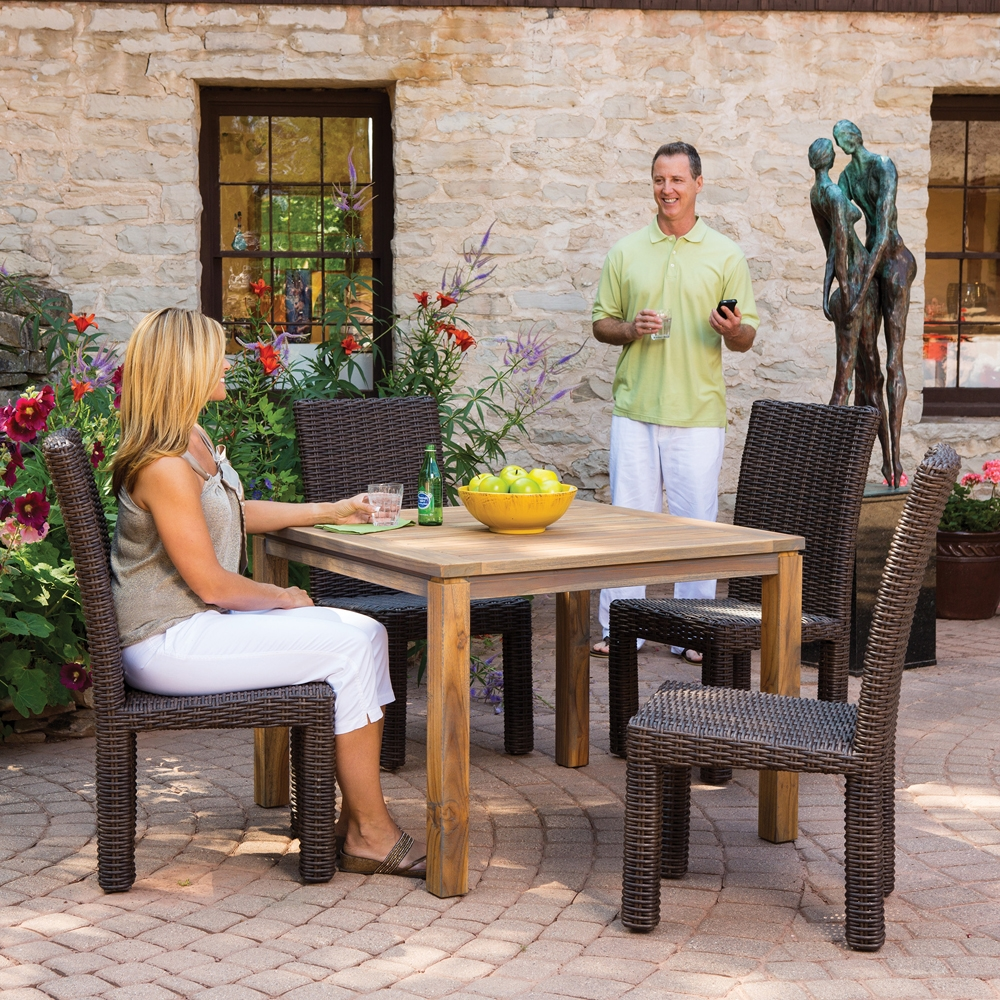 Outdoor dining furniture outdoor dining sets lloyd flanders dining - Lloyd Flanders 40 Inch Square Distressed Teak Dining Table 286040 40 Square Distressed Teak Dining Table 286040