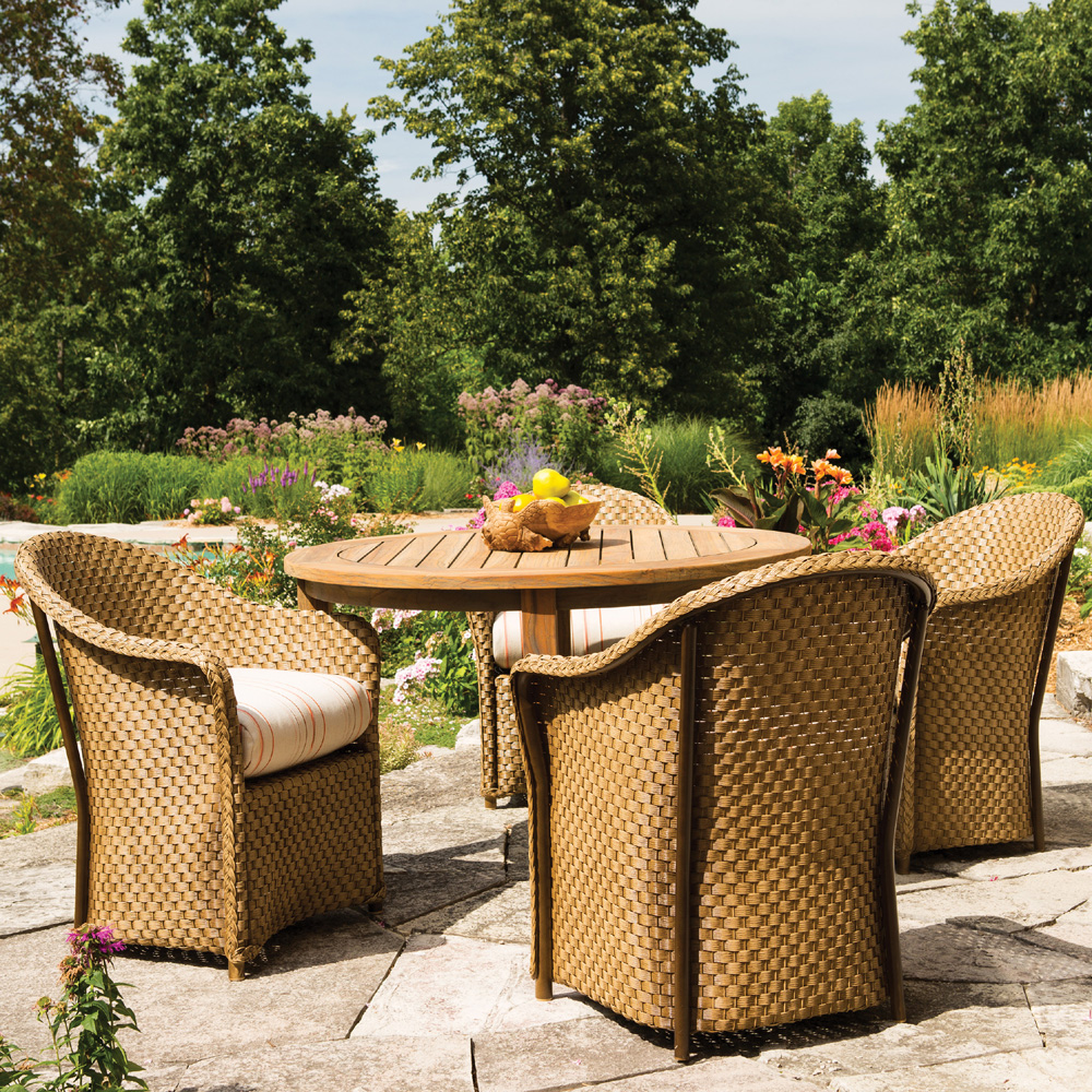 Outdoor dining furniture outdoor dining sets lloyd flanders dining - Lloyd Flanders 48 Inch Round Distressed Teak Dining Table 286048 48 Round Distressed Teak Dining Table 286048