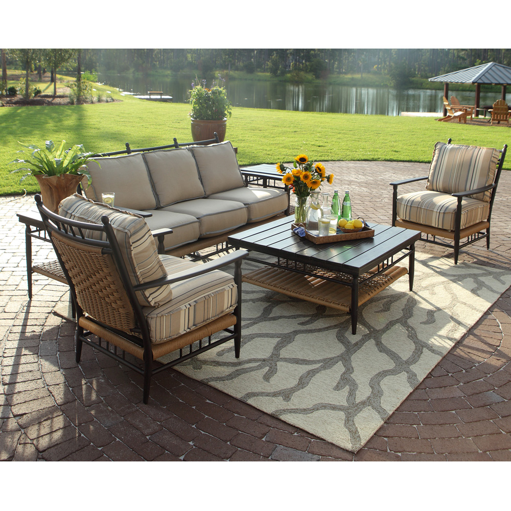 lloyd flanders low country wicker 6 piece patio lounge set. Black Bedroom Furniture Sets. Home Design Ideas