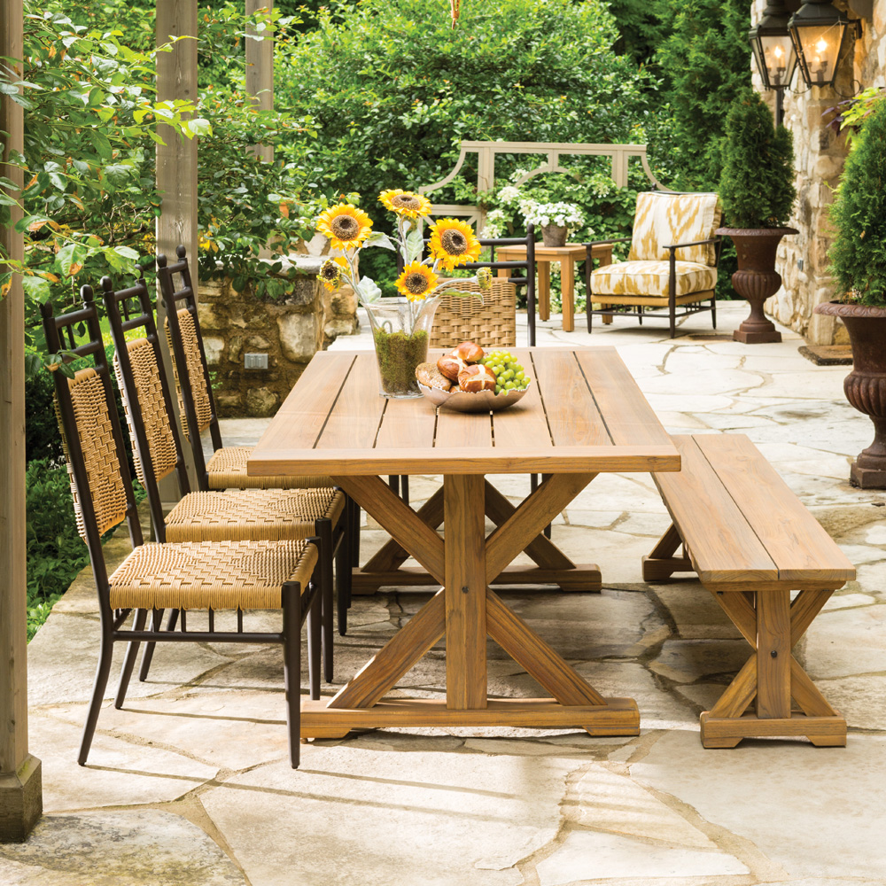 Lloyd Flanders Low Country 5 Piece Dining Set w/ Teak Table and Bench - LF-LOWCOUNTRY-SET10