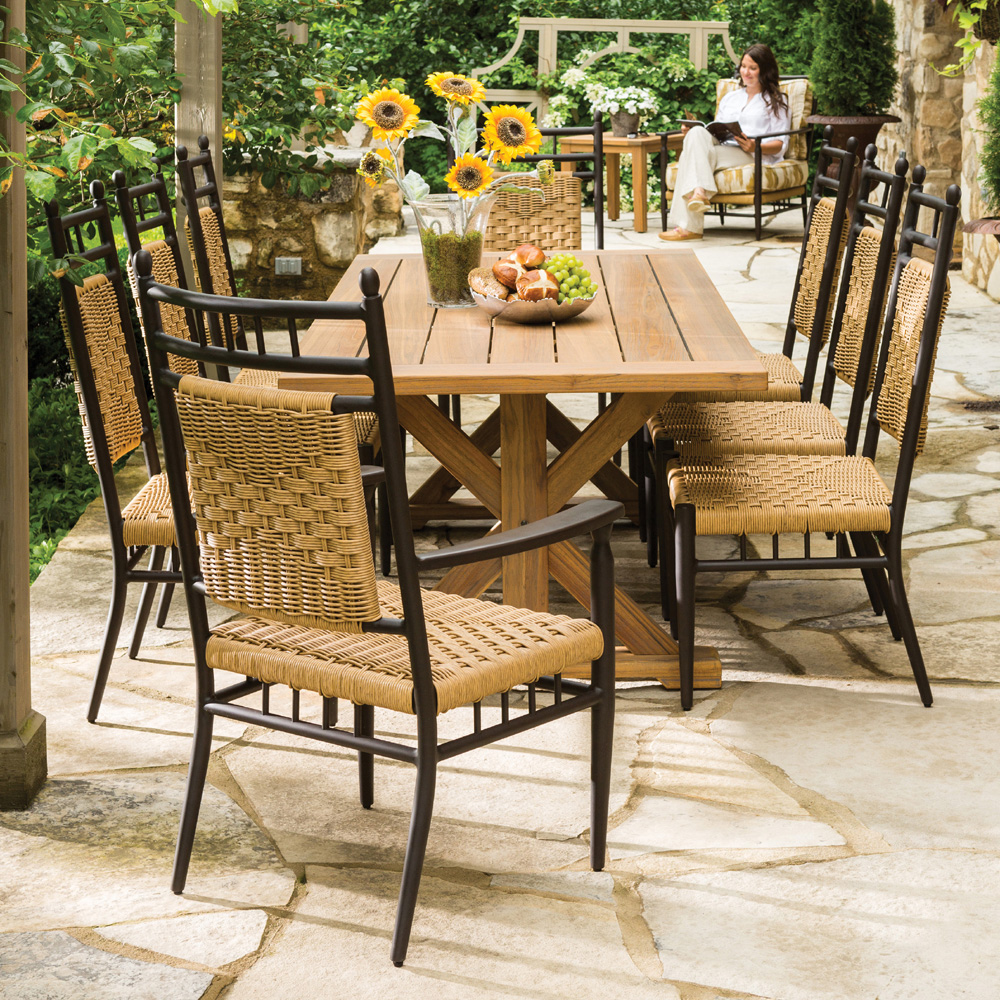 Lloyd flanders 86 x 40 rectangle trestle base dining for Home design 6 piece patio set