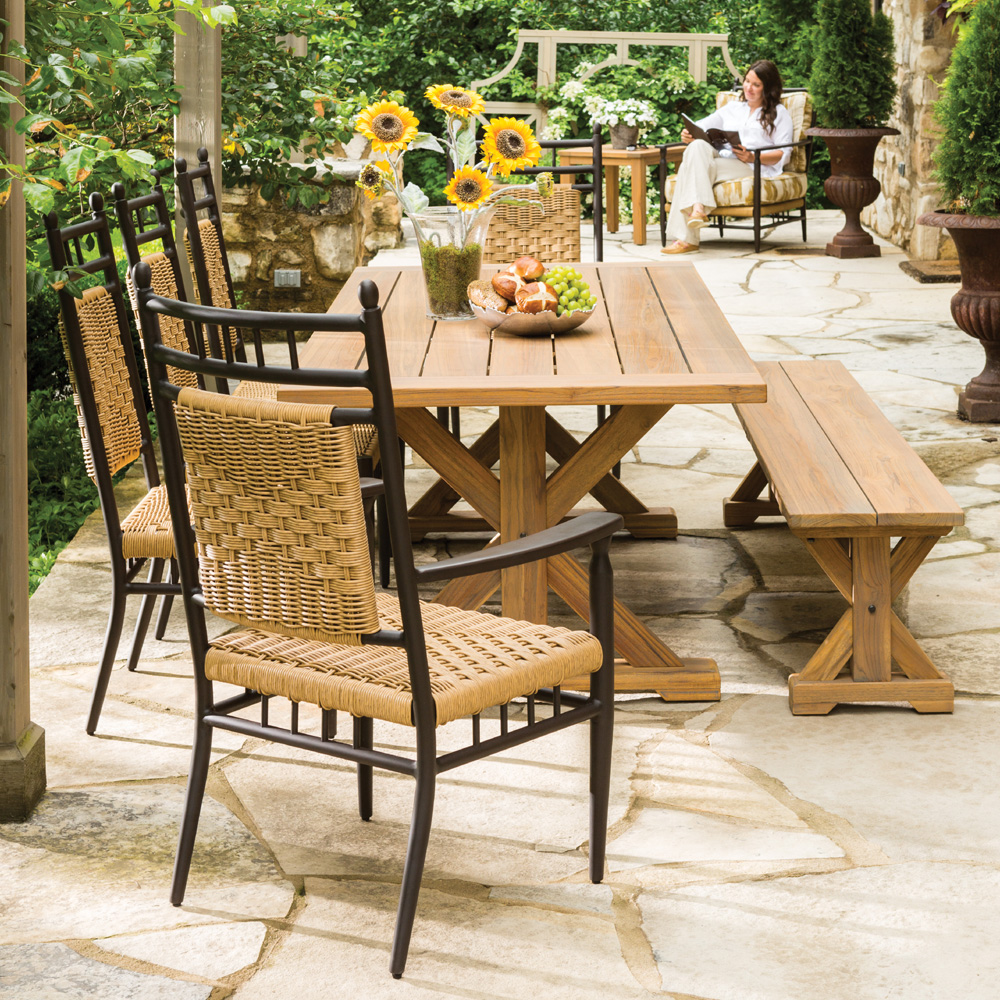 Lloyd Flanders Low Country Vinyl Wicker Dining Set With Teak Table And Bench Lf Lowcountry Set9