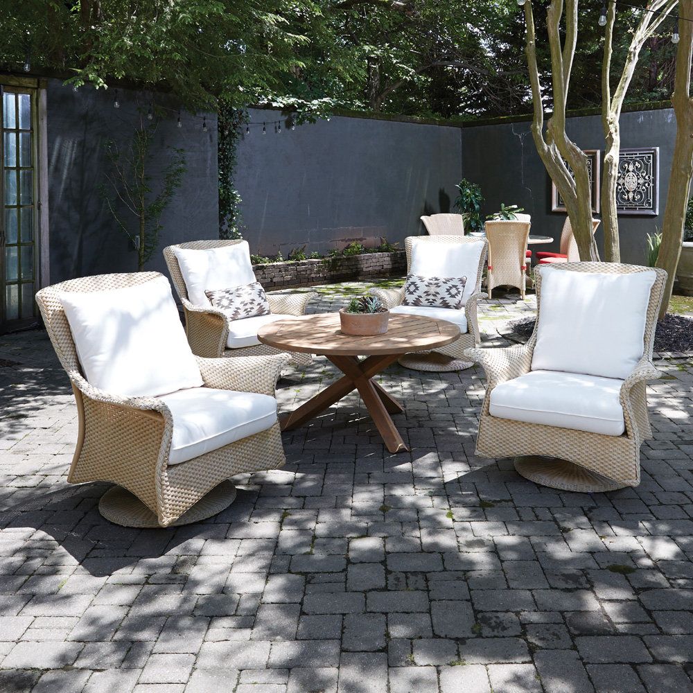 Lloyd Flanders Mandalay Swivel Rocker Lounge Chair Set with Teak Table - LF-MANDALAY-SET13