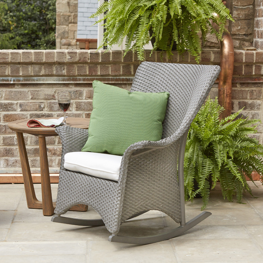 Lloyd Flanders Mandalay Wicker Porch Rocker and Teak Table Set - LF-MANDALAY-SET18