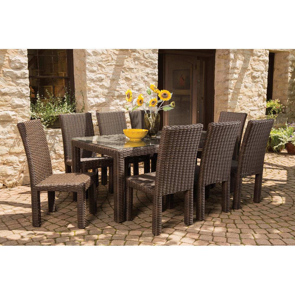 Lloyd flanders mesa wicker 9 piece patio dining set lf for Backyard outdoor furniture