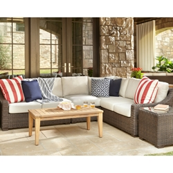 Lloyd Flanders Mesa Wicker L-Sectional with Teak Table - LF-MESA-SET15