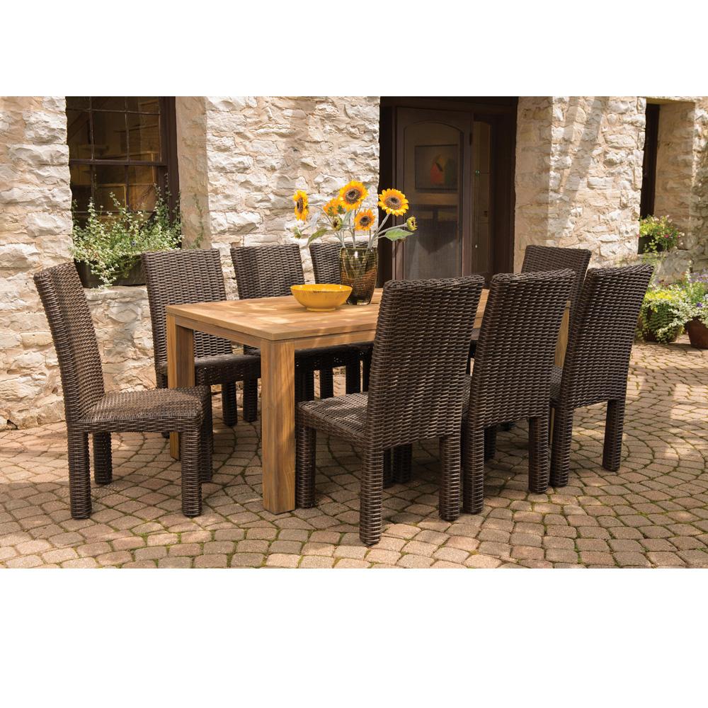 Mesa 9 Piece Woven Vinyl Dining Set With Teak Table LF MESA SET6 . Patio  Furniture ...