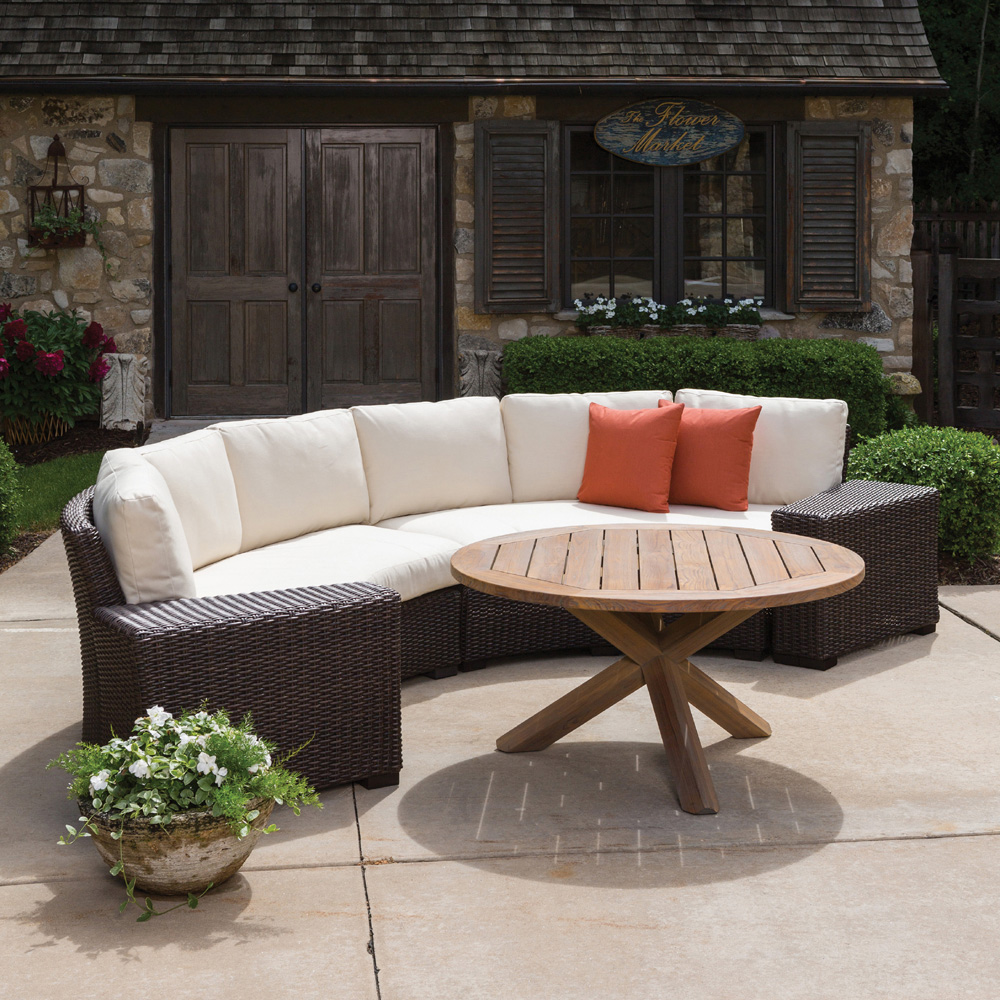 Lloyd Flanders Mesa Curved Wicker Sectional Set with Teak Table