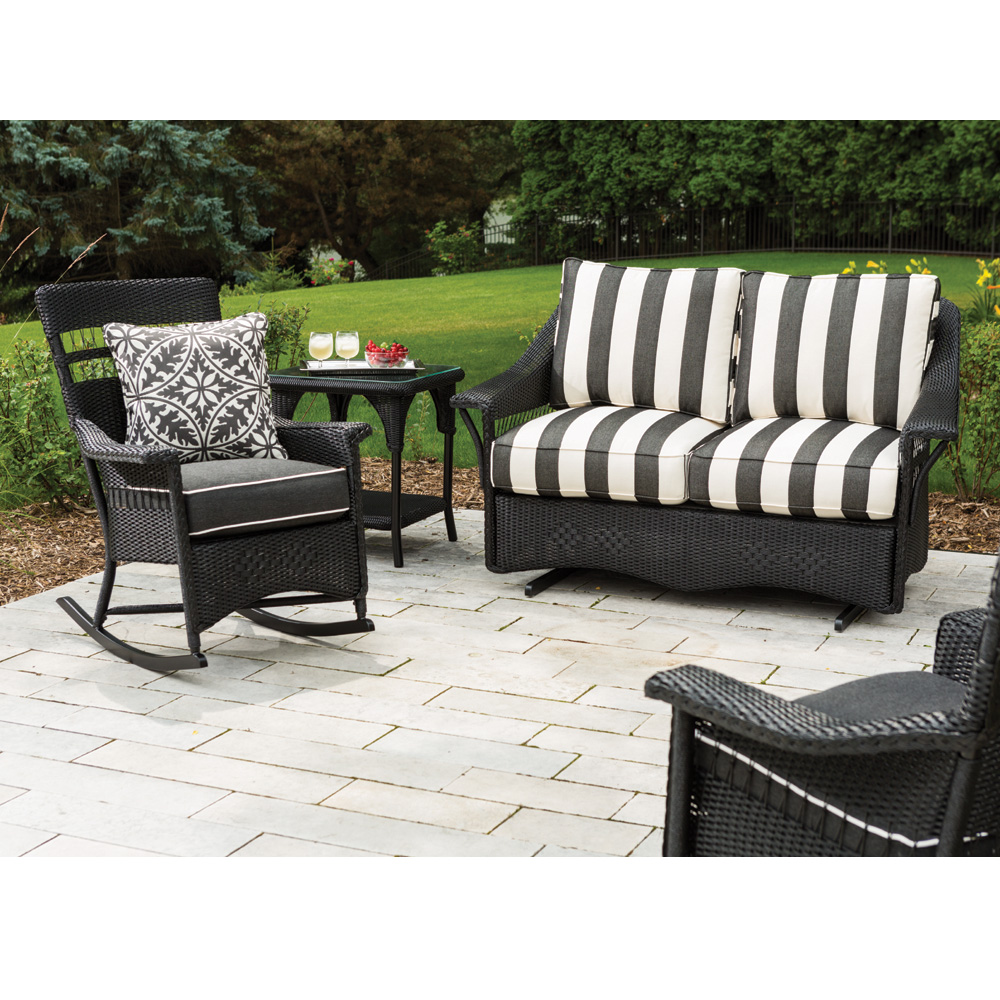 Lloyd flanders nantucket loom wicker loveseat glider and rocker set lf nantucket set11