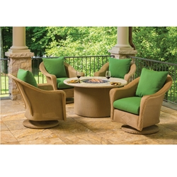 Lloyd Flanders Reflections Wicker Swivel Rocker Chair Set with Fire Table - LF-REFLECTIONS-SET4