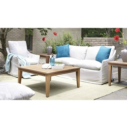 Lloyd Flanders Sea Island Slip Cover Patio Set with Teak Tables - LF-SEAISLAND-SET4