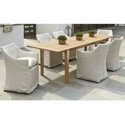 Lloyd Flanders Sea Island Slip Cover Patio Dining Set with Expanding Teak Table - LF-SEAISLAND-SET5
