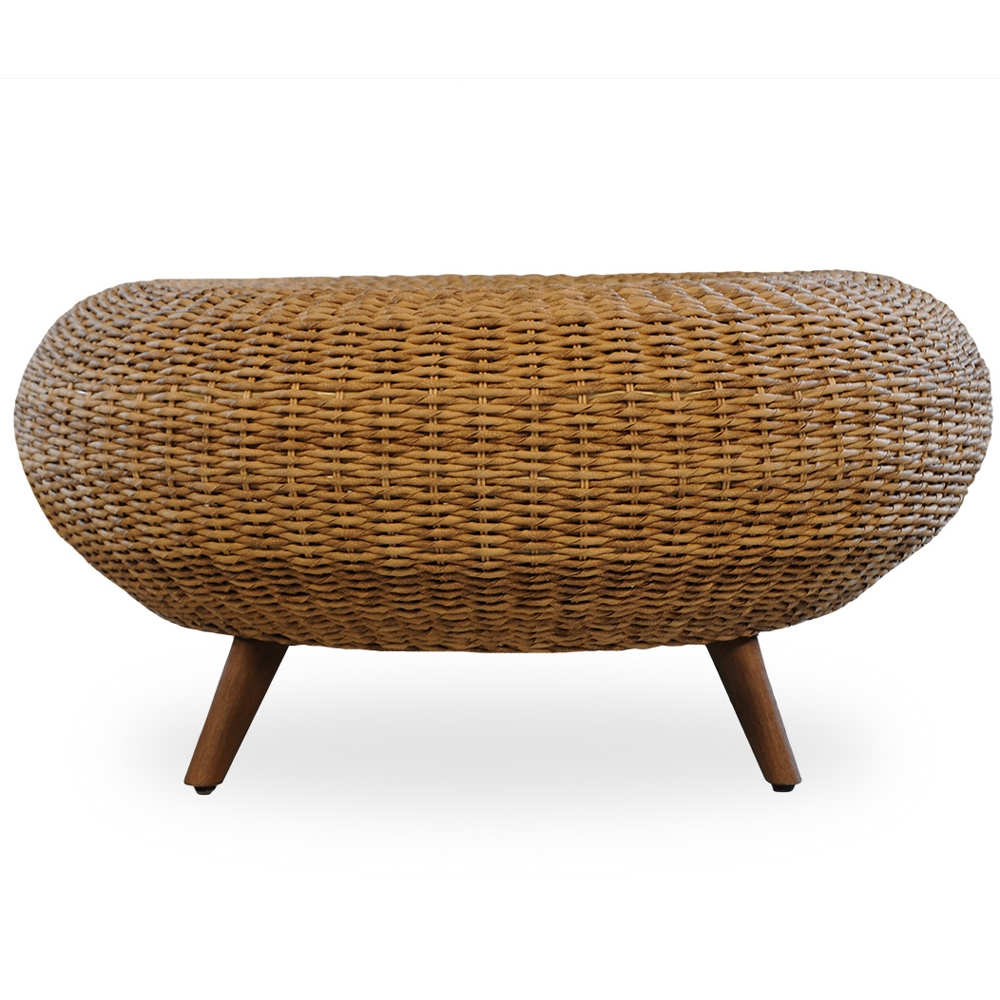 Lloyd Flanders Tobago Hyacinth Wicker Cocktail Ottoman
