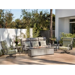 OW Lee Aris Sofa Set with Swivel Rockers and Fire Pit Table
