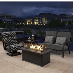 OW Lee Aris Love Seat Patio Fire Table Set - OW-ARIS-SET2