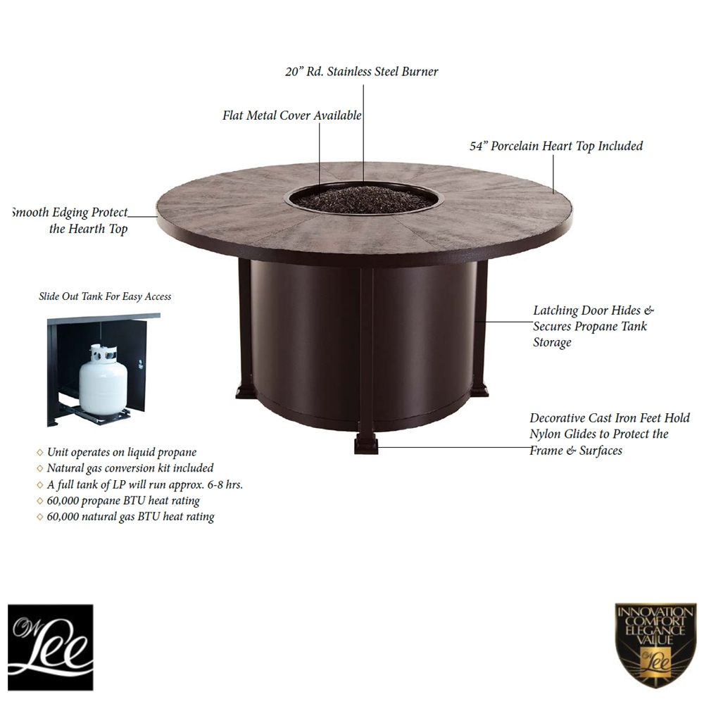 Ow Lee Santorini 54 Quot Round Dining Height Fire Pit Table