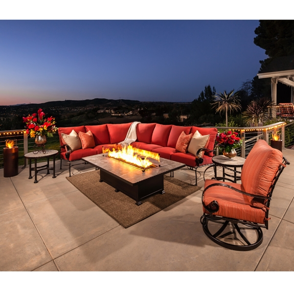 OW Lee Classico Wrought Iron Sectional with Santorini Fire Table