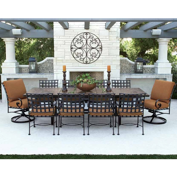 Ow lee classico w 10 seat dining set w expanding tile top for Outdoor dining sets for 10
