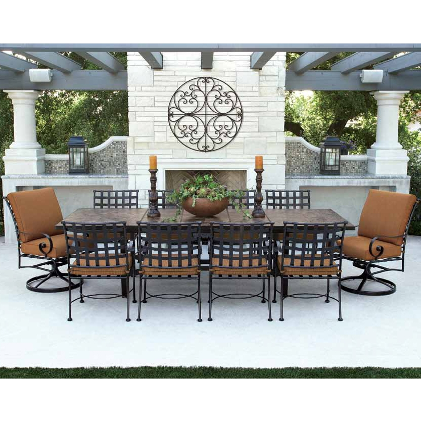 OW Lee Classico W 10 Seat Dining Set w Expanding Tile Top Table