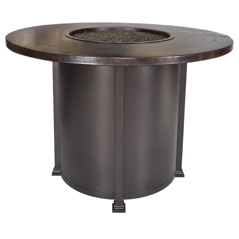 OW Lee 54 Round Counter Height Hammered Copper Fire Pit Table   51 02CP