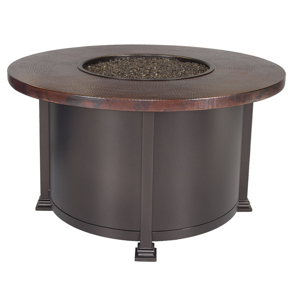 OW Lee 42 Round Chat Height Hammered Copper Fire Pit Table   51 08CP