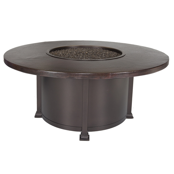 "OW Lee 54"" Round Chat Hammered Copper Fire Pit Table - 5130-54RDC"