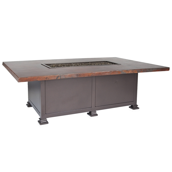 "OW Lee 36"" x 58"" Occasional Height Hammered Copper Fire Table - 5130-3658O"