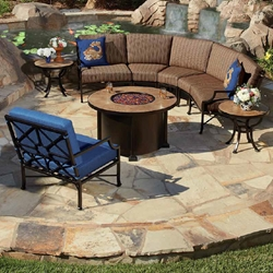 OW Lee Hyde Park Curved Sectional Fire Pit Set - OW-HYDEPARK-SET2