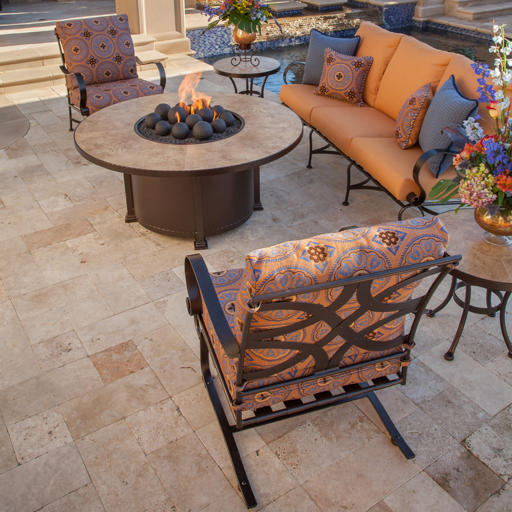 """OW Lee 54"""" Round Santorini Occasional Height Fire Pit"""