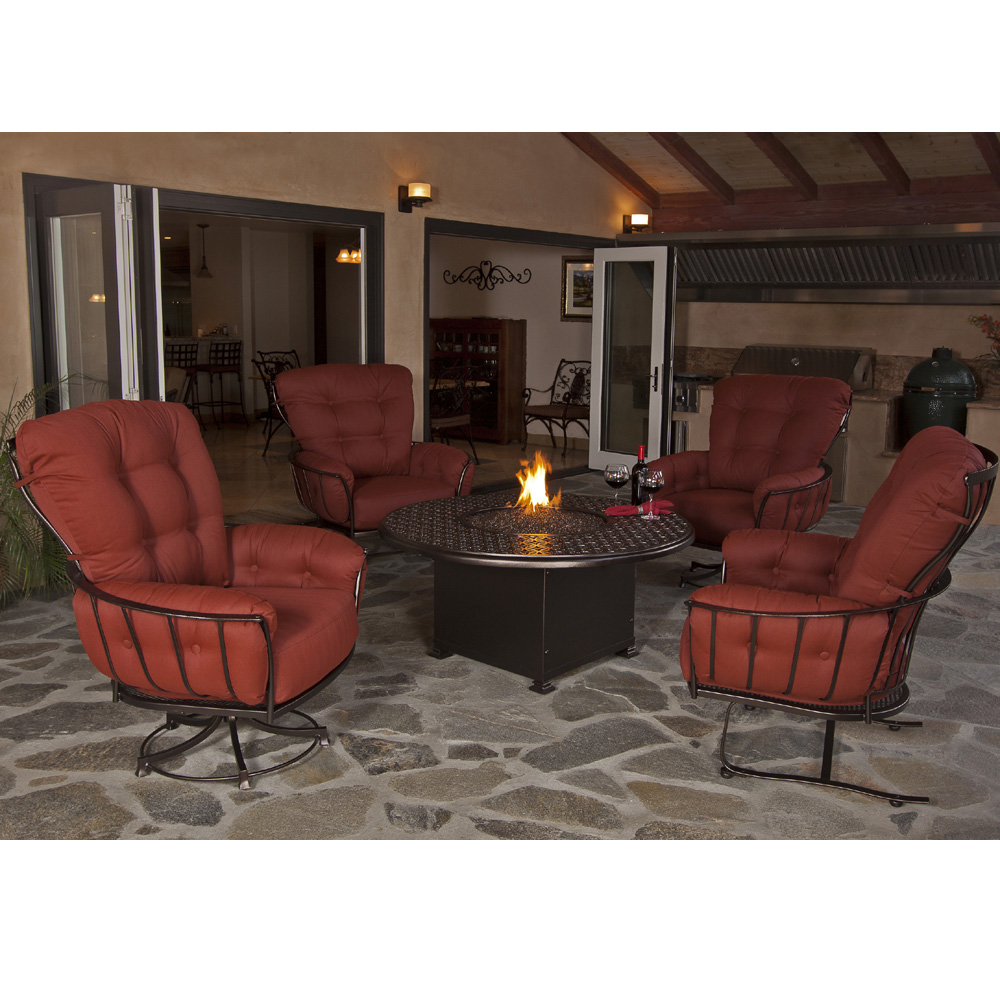 Ow lee monterra chat set with cast top fire pit table