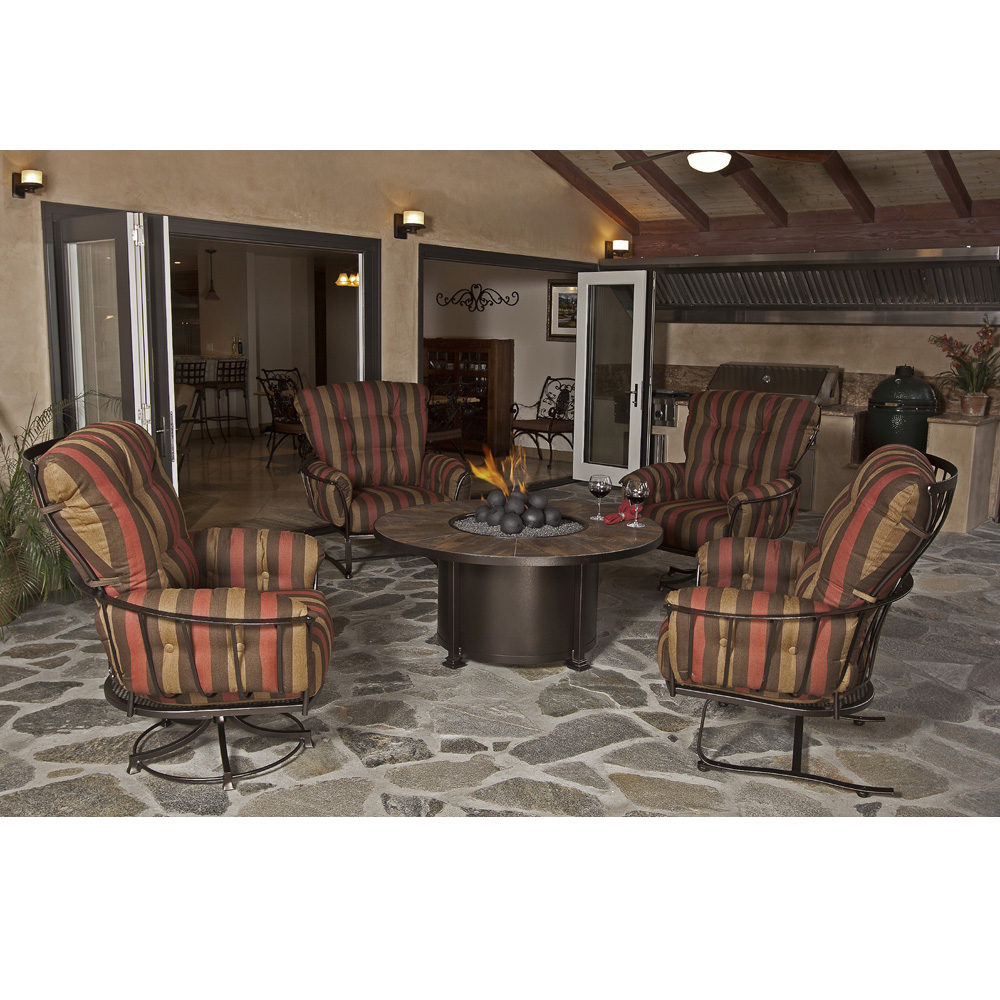 OW Lee Monterra Conversation Set with Santorini Fire Pit Chat Table