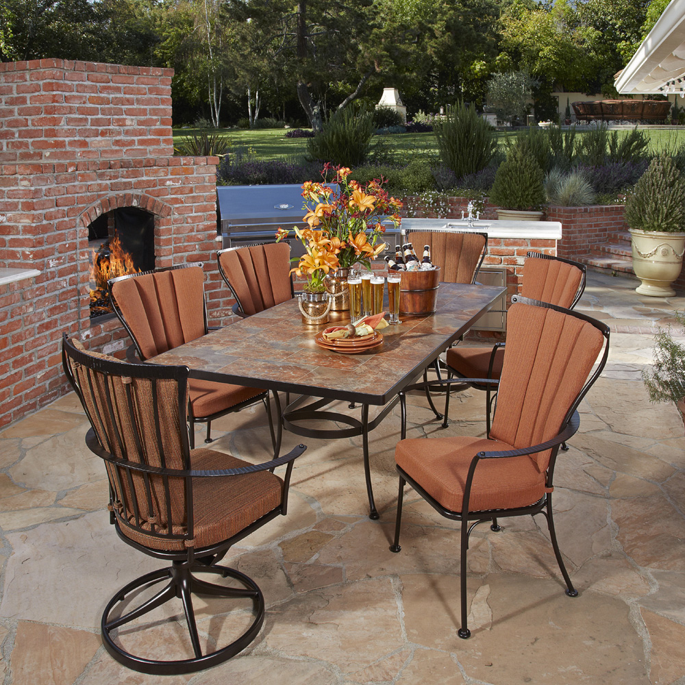 Beau OW Lee Monterra 7 Piece Dining Set With Porcelain Top Table   OW MONTERRA