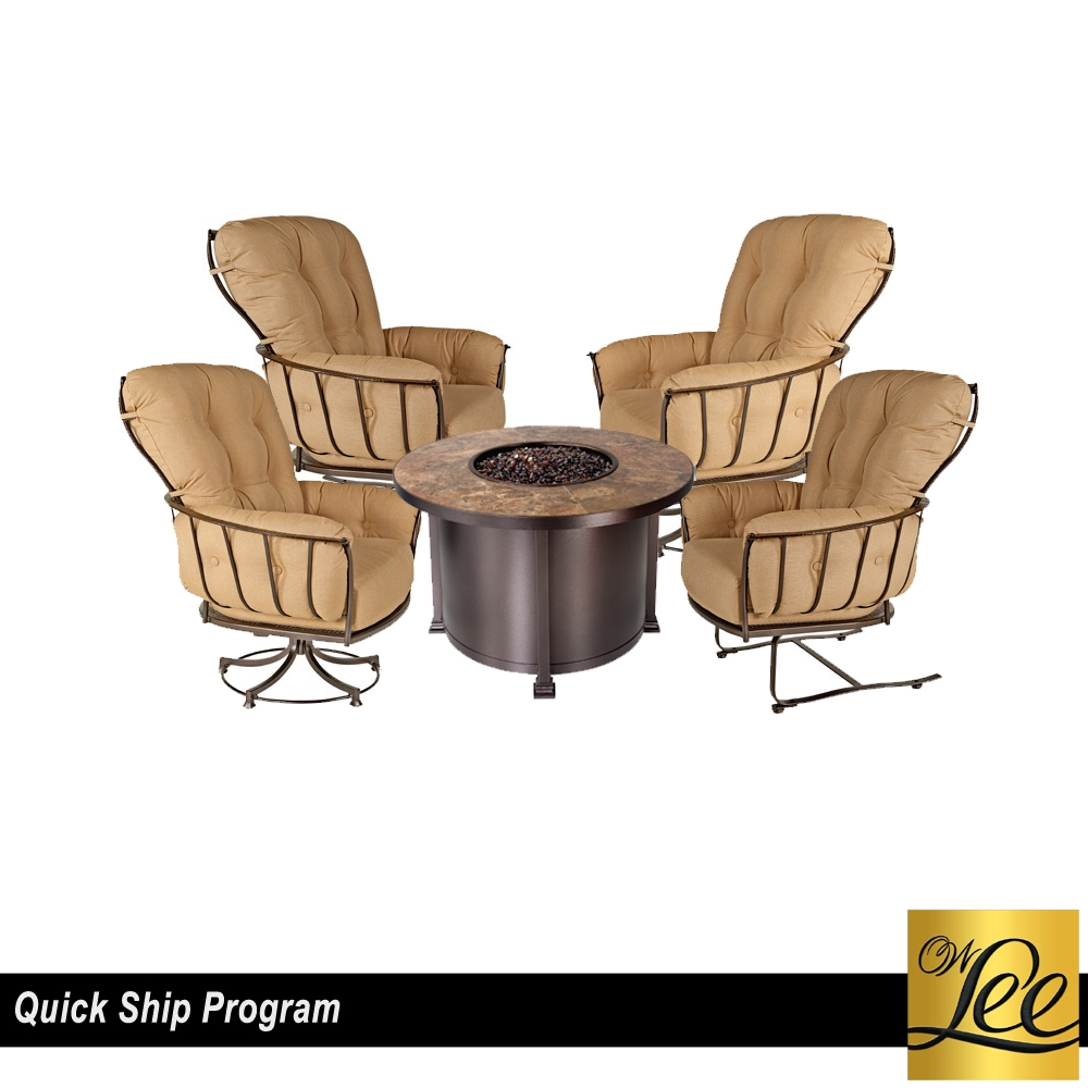 OW Lee Quick Ship Chat Set with 42 inch round Santorini Fire Pit