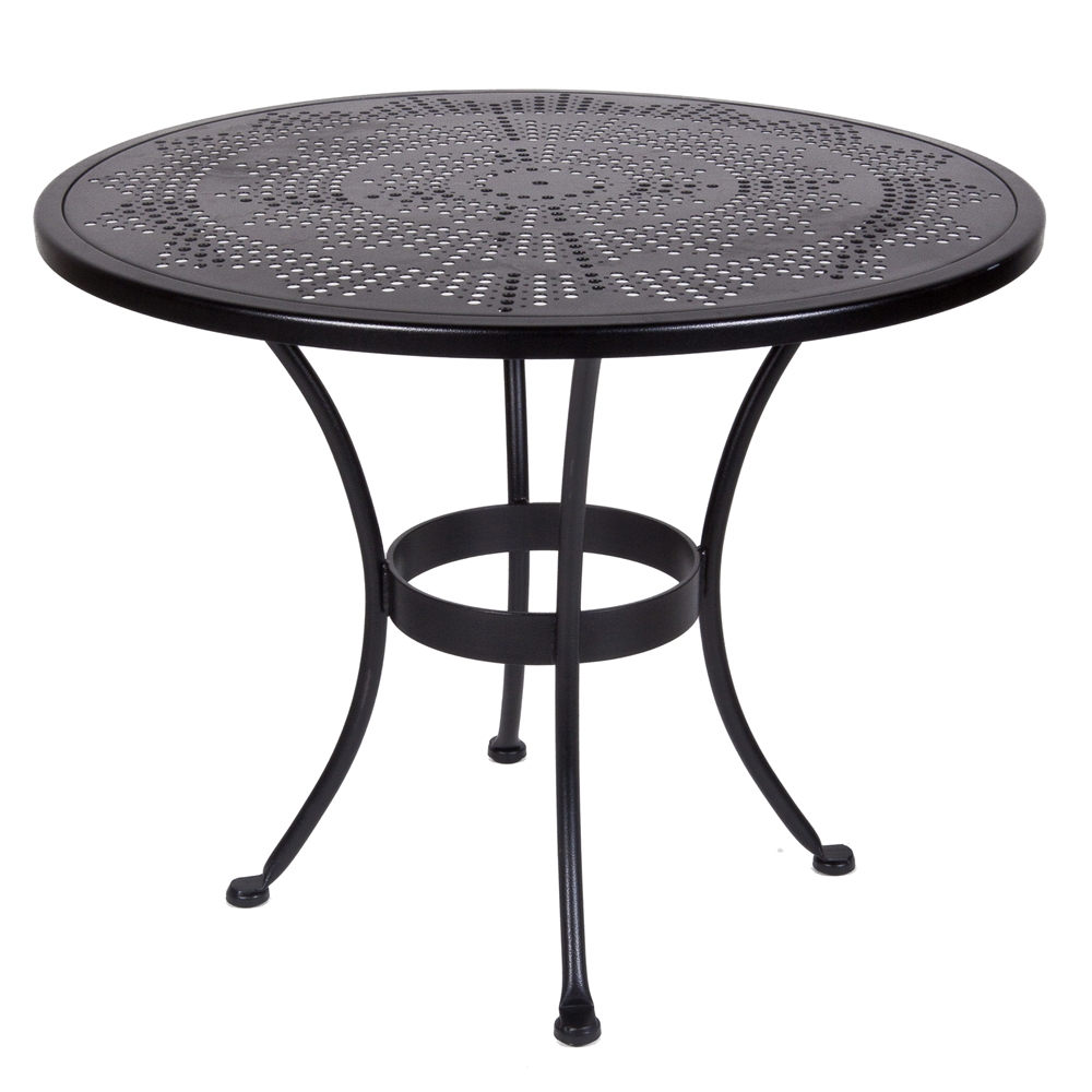 OW Lee Bistro 36 inch Round Stamped Metal Dining Table   36 SU. Patio Furniture With Umbrella Hole. Home Design Ideas