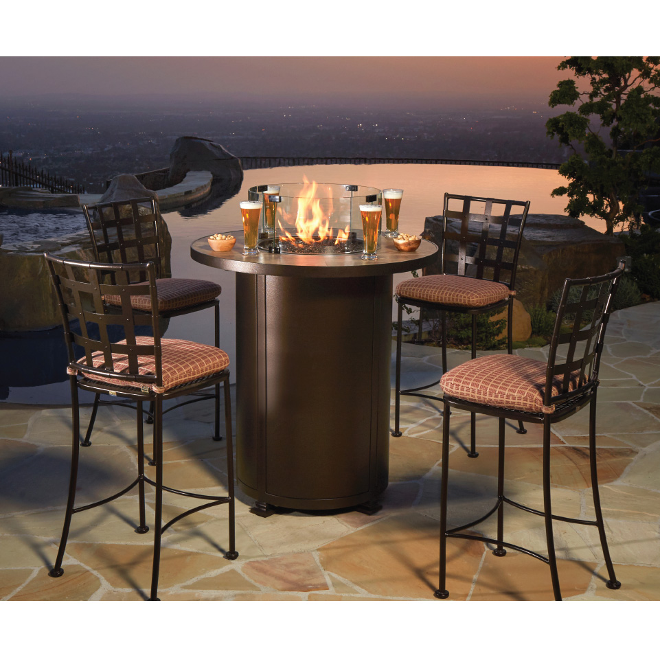 Ow Lee Casa Outdoor High Top Fire Table Set Bistro