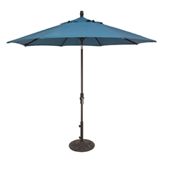 OW Lee 9 Foot Collar Tilt Market Umbrella with Brown Frame - U-9MB