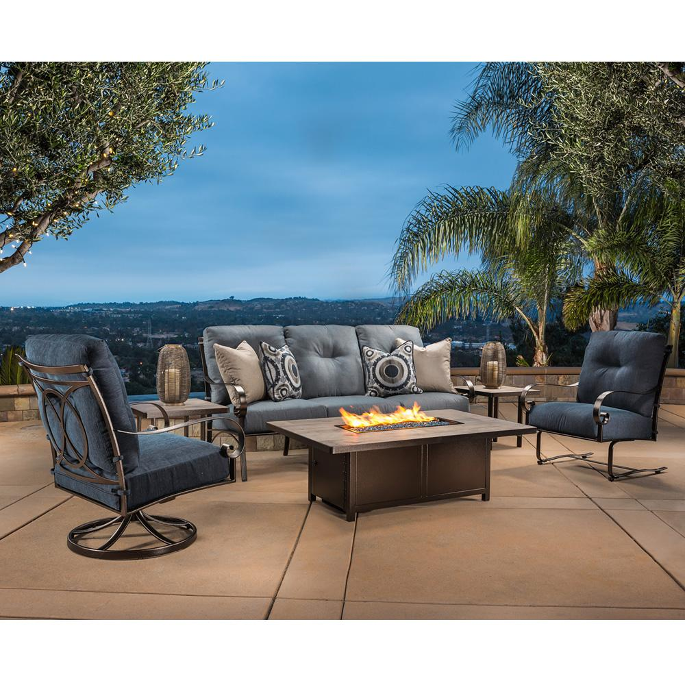 OW Lee Pasadera Sofa Patio Set with Fire Table