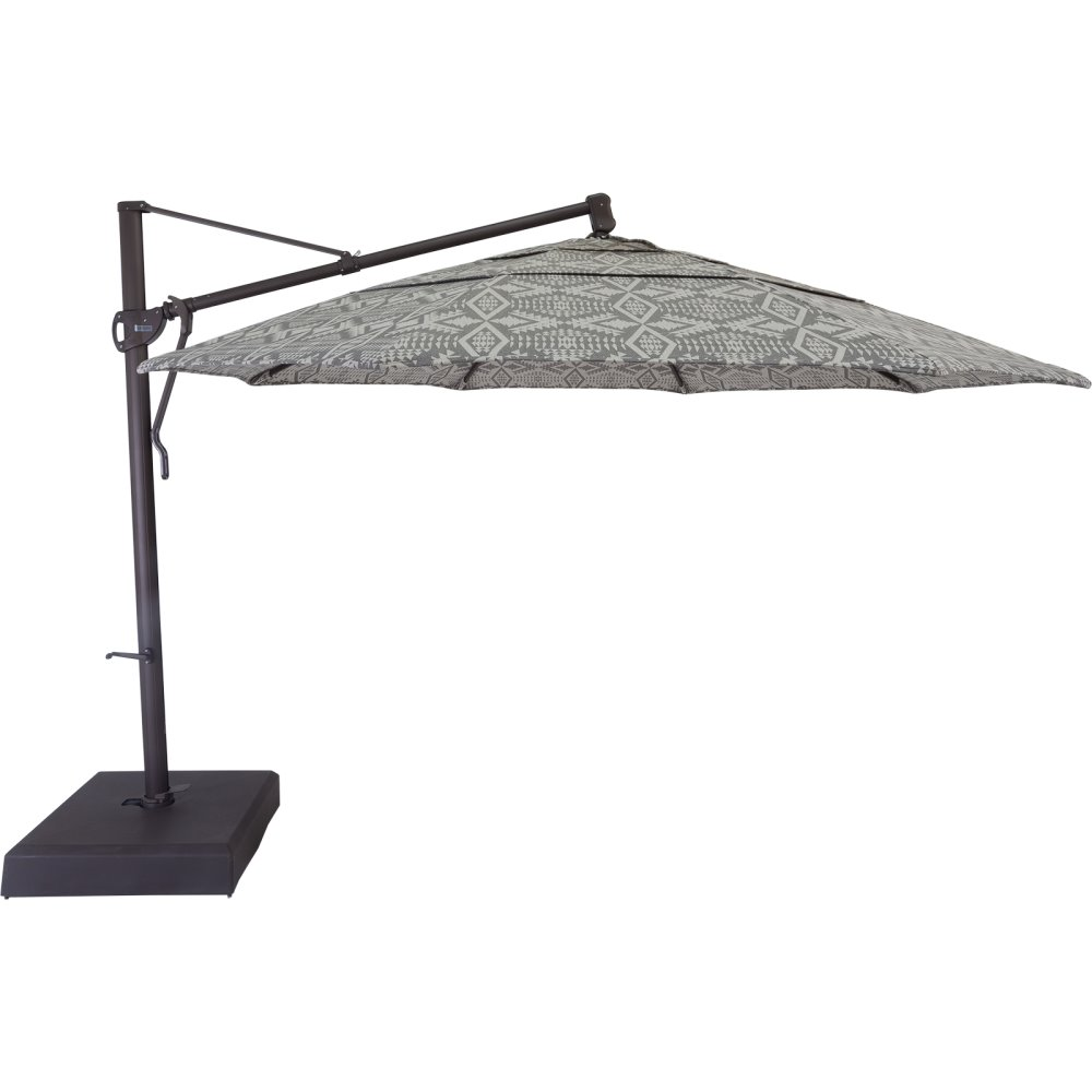 OW Lee Pendleton Classico-W 13' Cantilever Umbrella with Brown Base - PDU-13CB-375B-BASE