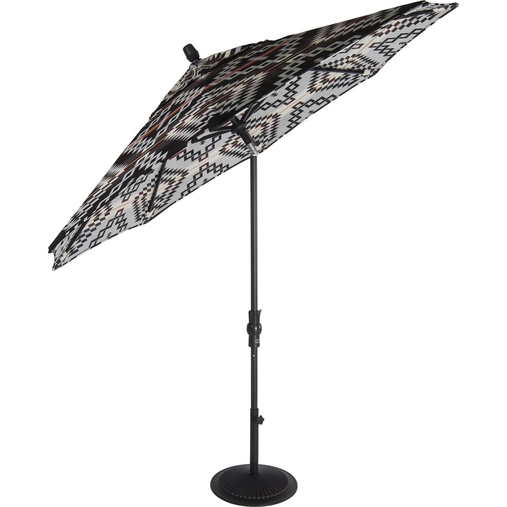 OW Lee Pendleton Creighton 9' Collar Tilt Aluminum Market Umbrella with Black Base - PDU9MK-40-Base