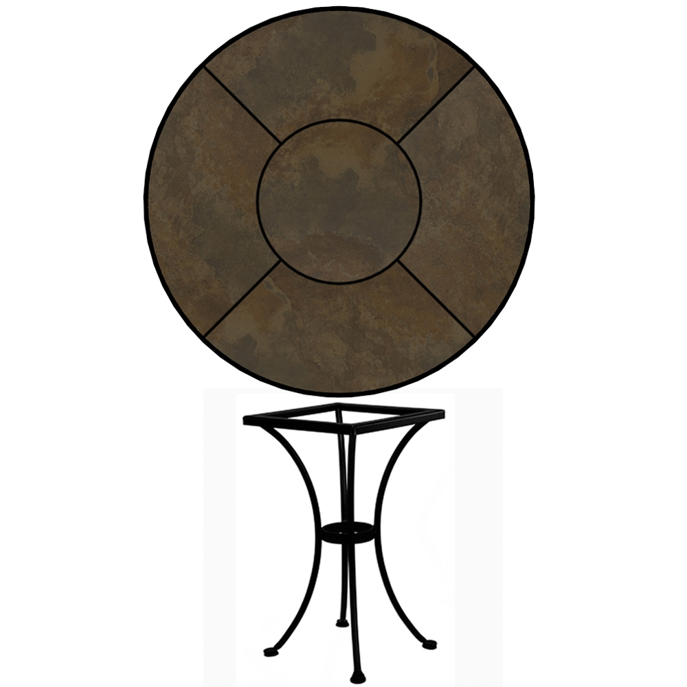 OW Lee 30 inch Round Porcelain Tile Top Dining Table - P-30-DT01-BASE