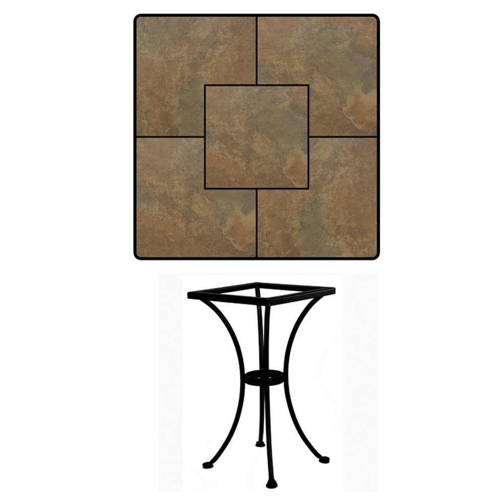 OW Lee 24 Inch Square Porcelain Tile Top Bistro Table   P24SQ DT01 BASE