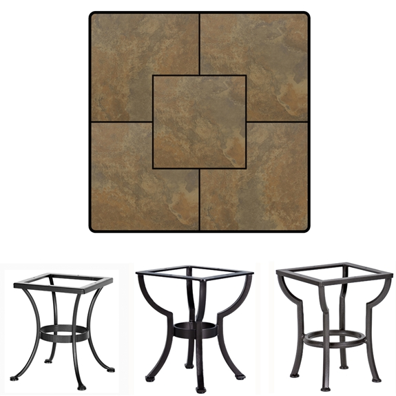 OW Lee 24 inch Square Porcelain Tile Top Side Table - P24SQ-XX-ST01