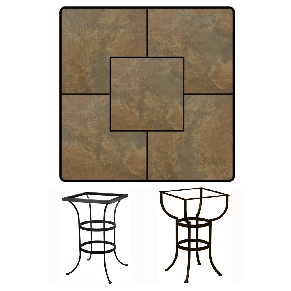 OW Lee 36 inch Square Porcelain Tile Top Bar Table - P3636SQ-BT03